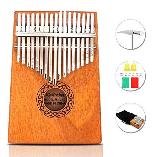 17 Keys Thumb Piano Portable Thumb Finger Piano Mahogany Marimba