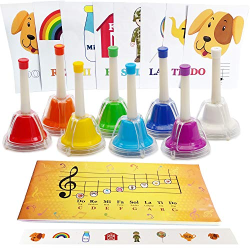 Desk Bell Set, Booklet with Songs for Handbells, Notes Cards, Stickers, 8-note Color Bells, Sheet Music