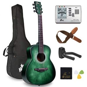 Left Handed 36 Inches 3/4 Acoustic Guitar Travel Bundle with Bag