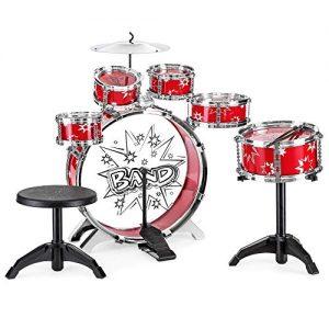 11-Piece Kids Starter Drum Set w/Bass Drum