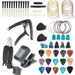 FethFire 75 PCS Guitar Accessories Kit Including Guitar Picks,Tuner,Capo,3 in 1String Winder,Acoustic Guitar Strings,Bridge Pins,Pick Holder,6 String Bone Bridge Saddle and Nut,Finger Picks for Beginn