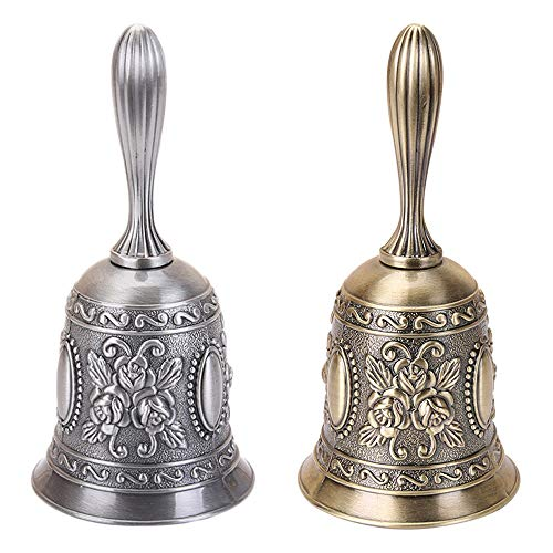 MOTZU 2 Pieces Hand Bell, Metal Jingle Service Call Bell Brass Wedding Bells, Extra Loud Multi-Purpose Held Dinner Bell for Decoration, Alarm, School Church Classroom, Bar(Gold, Silver)