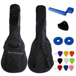 YMC 41 Inch Waterproof Dual Adjustable Shoulder Strap Acoustic Guitar Gig Bag 5mm Padding Backpack with Accessories(Picks, Pick holder, Strap Lock, String Winder) -For 40″ & 41-Inch Acoustic Guitar