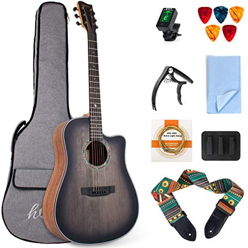 Cutaway Acoustic Guitar Top Spruce with Bag Tuner