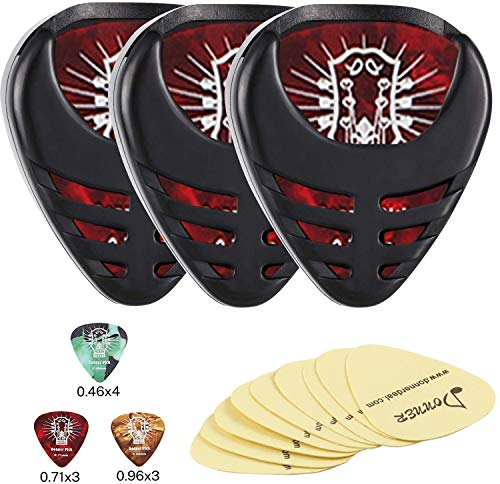 Donner 3 Pack Guitar Pick Holder Mini Sticky Style,10 Pcs Picks of Thin Medium Heavy,9 Pcs 3M Stickers for Acoustic Guitar Electric Guitar Bass Ukulele Banjo