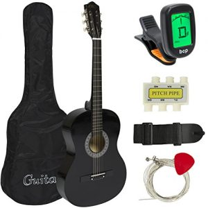 38in Beginner Acoustic Guitar Starter Kit w/Case, Strap, Tuner, Pick, Strings