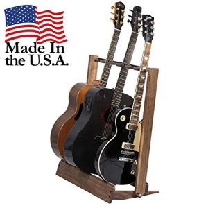 Walnut Guitar Rack String Swing CC34 Holder for Electric Acoustic and Bass Guitars – Stand Accessories for Home or Studio - Keeps Musical Instruments Safe without Hard Cases