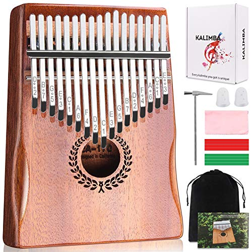 Kalimba 17 Keys Thumb Piano, Easy to Learn Portable Musical Instrument