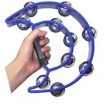 Double Row Tambourine Metal Jingles Hand Held Percussion