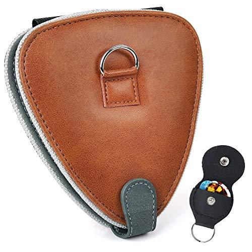 PlasMaller Guitar Pick Holder Case Bag with 24pcs Acoustic Electric Guitar Colorful Picks 0.46mm/ 0.71mm/ 0.96mm + Little Picks Holder Set (Brown)