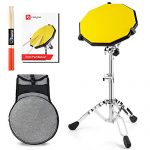 Vangoa Practice Pad Bundle, 12 Inch Rebound Silicone Drum Pad with Snare Drum Stand, 5A Anti-slipping Drumsticks, Backpack, Beginner Guide Book
