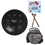 Mowind Steel Tongue Drum Tank Drum C Key 8 Notes 5.5 Inch Percussion Instrument with Drum Mallets Carry Bag Black