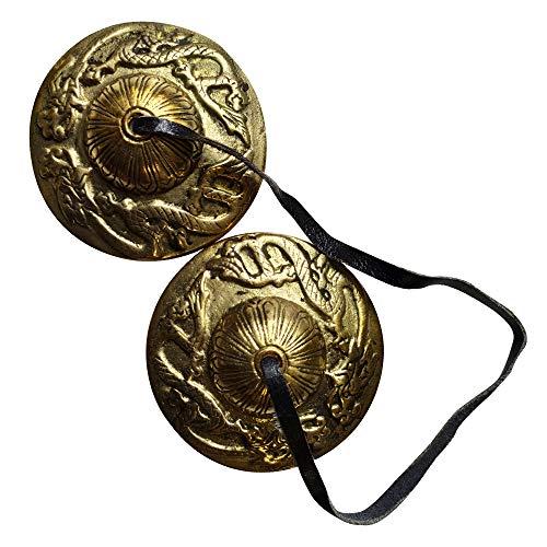 Tingsha Cymbals Tibetan Lucky Symbol Embossed Meditation Yoga Bell Chimes (Large, Dragon)