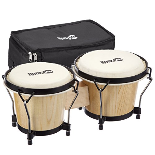 """RockJam 7"""" and 8"""" Bongo Drum Set with Padded Bag and Tuning Key, Natural"""