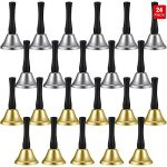 24 Pieces Hand Bells Silver Steel Service Handbells Black Wooden Handle Diatonic Metal Bells Musical Percussion (Nickel White and Gold)