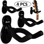 Guitar Wall Mount Hanger 4-Pack, Moodve Guitar-Shaped Metal Guitar Hook, Black Guitar Holder Stand For Bass Electric Acoustic Guitar Ukulele