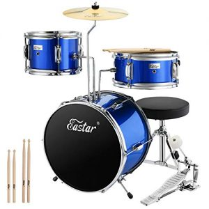 Eastar 14 inch Kids Drum Set Real 3 Pieces with Throne