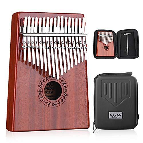 GECKO Kalimba 17 Keys Thumb Piano with Waterproof Protective Box