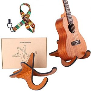 Wooden Ukelele Stand Holder with Ukulele strap