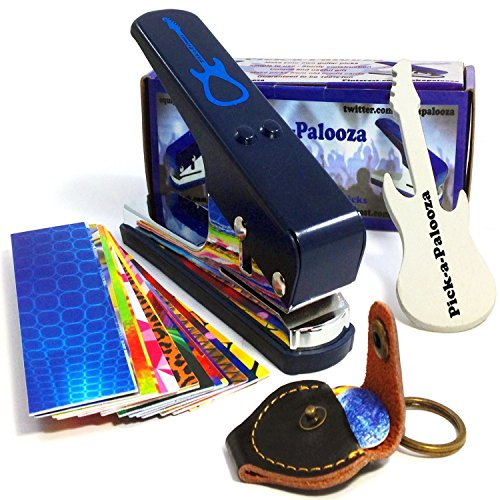 Pick-a-Palooza DIY Guitar Pick Punch Mega Gift Pack - the Premium Pick Maker - Leather Key Chain Pick Holder, 15 Pick Strips and a Guitar File - Blue