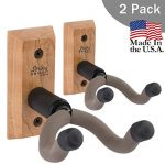 String Swing Guitar Hanger – Holder for Electric Acoustic and Bass Guitars – Stand Accessories for Home or Studio – Musical Instruments Safe without Hard Cases – Cherry Hardwood Wall Mount 2 Pack