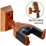 Auto Lock Ukulele Hanger, Hard Wood Base Ukulele Holder