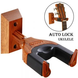 Auto Lock Ukulele Hanger, Hard Wood Base Ukulele Holder