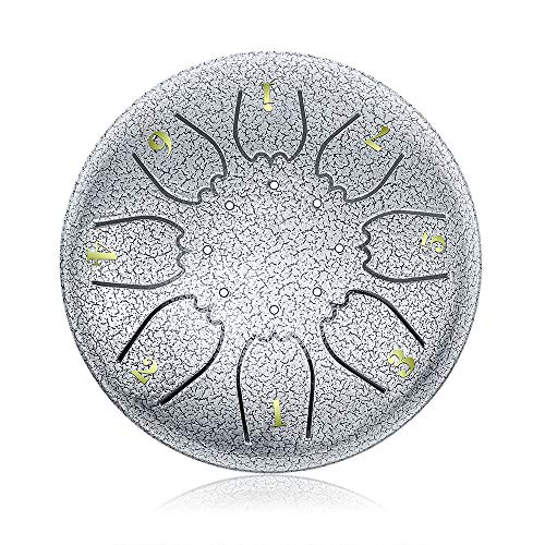 C Major Steel Tongue Drum Silver 8 Notes with Elegant Quality Drum Bag