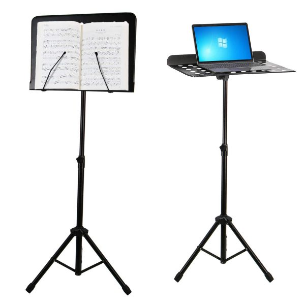 EastRock Sheet Music Stand, Guitar Violin Drum Flute Book Stand, Professional Collapsible Portable Travel Metal Adjustable for Music Sheet for Instrumental Performance, Multifunctional