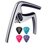 Donner Guitar Capo DC-3 for Acoustic and Electric Guitar Ukulele Banjo Mandolin Silver With Picks