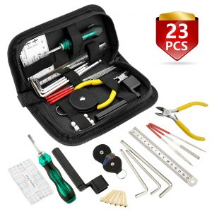 MIFOGE 23Pcs Guitar Repairing Tool Kit with Carry Bag for Acoustic Guitar Electric guitar Ukulele Bass Mandol Banjo,Maintenance Tools with Wire Plier,Hex Wrenches,Files,String Action Ruler,Bridge Pins