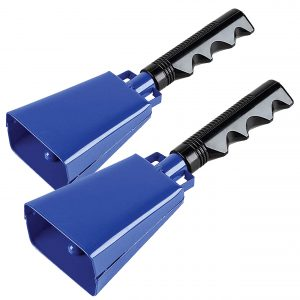2 pack 7 in. steel cowbell/Noise makers with handles. Cheering Bell for sporting, football games, events. Large solid school hand bells. Cowbells. Percussion Musical Instrument. Cow Bell Alarm (Blue))