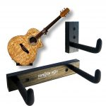 Angled Guitar Wall Hanger Display for Acoustic and Thick Body Guitars – Black Finish