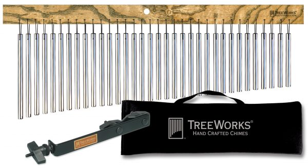 Complete Chime Set with Mounting Bracket and Bag — MADE IN U.S.A. — Large Single Row, Tennessee Hardwood