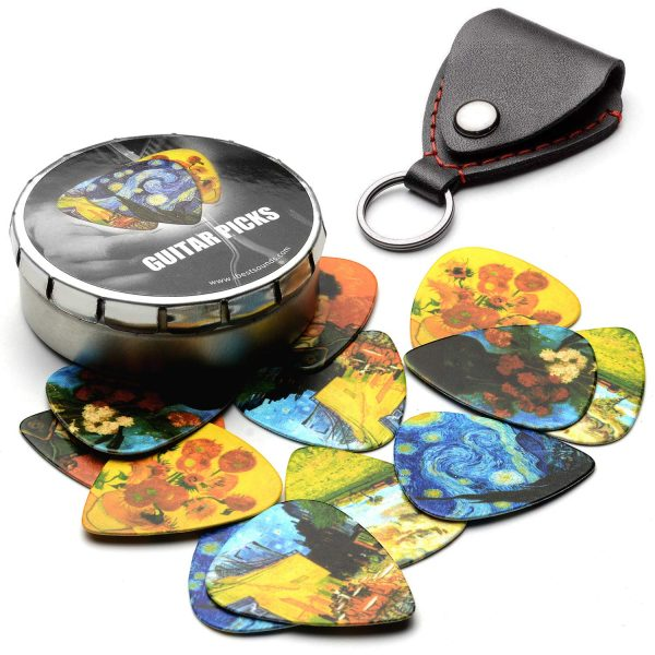 Van Gogh 12 Pack Guitar Picks with 100% Leather Picks Holder - Celluloid Medium Plectrums Unique Gifts For Guitarist