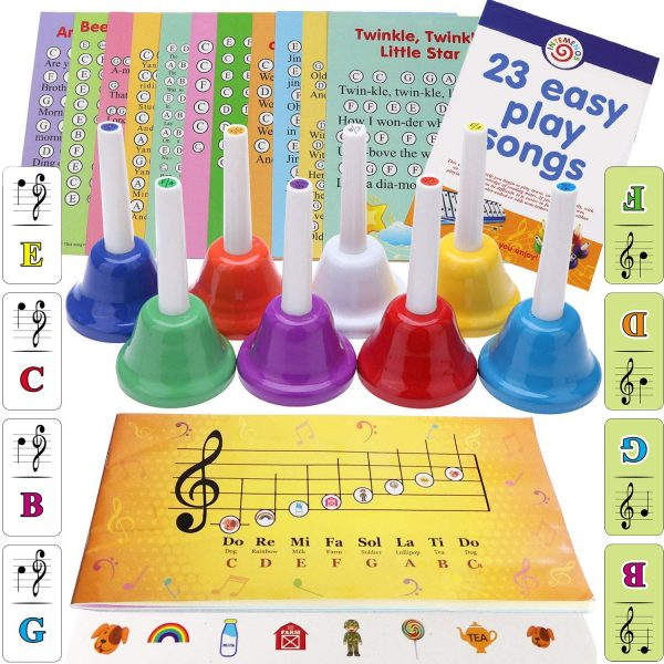 8 Diatonic Color-Coded Hand Bells with Sheet Music Book, Stickers, Musical Dominoes for Children, Adult, Seniors