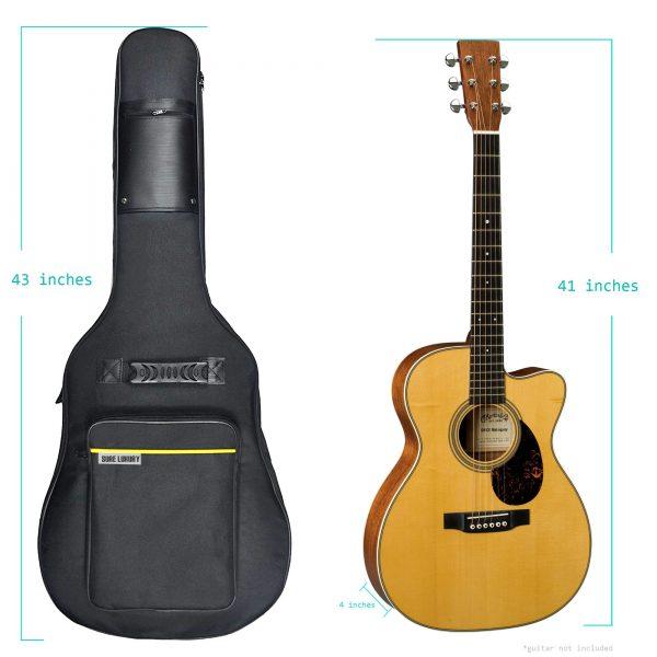 Sure Luxury Sure Luxury 41 Inch Acoustic Guitar Soft Case Gig Bag Backpack - Black