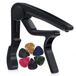 MOREYES Guitar Capo for Acoustic Guitar,Ukelele, Electric Guitar,Bass with Guitar Picks(Black)