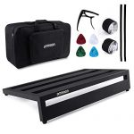 """ammoon Guitar Pedal Board Large Pedalboard 19.8"""" x 11.5"""" Aluminum Alloy with Carry Bag Capo 4pcs Picks Fixing Tapes"""