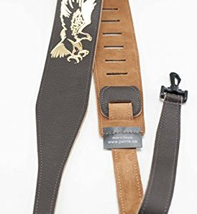 "Perri's Leathers Ltd. Banjo Guitar Strap, 2.5"" inch wide, Adjustable length,(P25EBJBR-106) Brown Leather, Made in Canada"