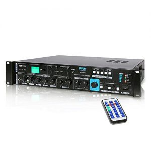 70V System Audio Power Amplifier - 700W Rack Mount Home Stereo Sound Receiver Mixer System w/ 70V 100V Speaker Output, RCA AUX IN, USB, Mic Talkover - For Multi Speakers, Studio Use - Pyle PT930U