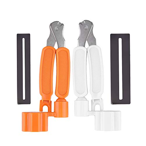Guitar String Winder Whit & Orange 3 IN 1 Multifunctional Guitar String Winder String Cutter Pin Puller Repair Tool with 2PCS Guitar Fingerboard Guards