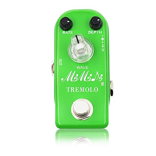 Tremolo Pedal, MIMIDI Mini Guitar Pedal with Three Modes, Analog Classic Tremolo Guitar Effects Pedal True Bypass (M17 Tremolo Green)