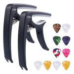 Guitar Capo Accessories with 10 Free Picks for Ukulele and Acoustic Guitars, 2 Pack