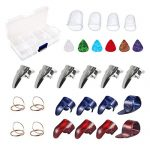 Guitar Accessories Kit Including 18pcs Finger Pick Thumb Pick Set Guitar Picks 6 Pcs Guitar Picks 4 Pcs Clear Guitar Finger Protectors with Grid Case Storage Box