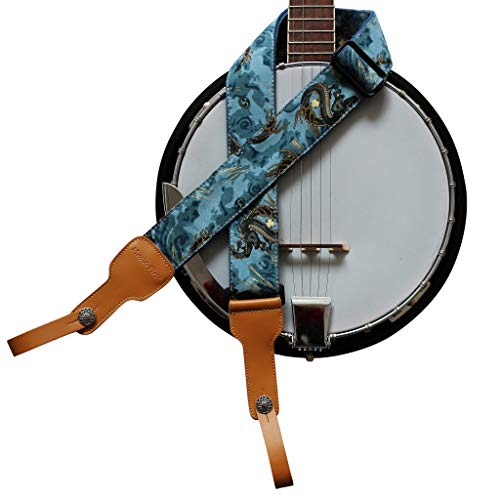 "MUSIC FIRST Original Design, 2 inch width (5cm), Ukiyoe Style ""The Dragon King"" Soft Cotton & Genuine Leather Delux Banjo Strap, With 2 pieces of MUSIC FIRST Leather Strap Locker. (The Dragon King)"