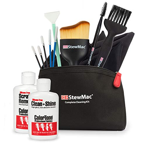 StewMac Guitar Cleaning Tool Set with ColorTone Clean + Shine and ColorTone Scratch Remover, 15-piece Set
