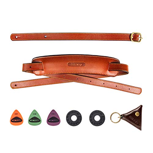 M33 Leather Guitar Strap 2.5 Inch Wide Double Padded Brown Genuine Soft Guitar Strap Set For Acoustic, Electric and Bass Guitars Includes Locks + Picks + Keychain