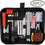 Guitar Repairing Tool Kit(26PCS) Wire Plier,String Organizer,Fingerboard Protector,Hex Wrenches, Files, String Ruler Action Ruler, Spanner Wrench,Bridge Pins for Guitar Ukulele Bass Mandolin (26 PCS)
