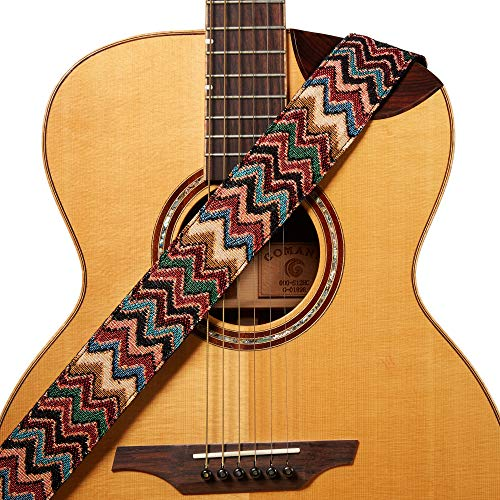 Amumu Chevron Guitar Strap Multi-Color for Acoustic Guitar Electric Guitar and Bass Guitar includes Strap Blocks & Headstock Tie
